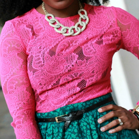 The Serena Saga Pink Lace top Green leopard skirt square