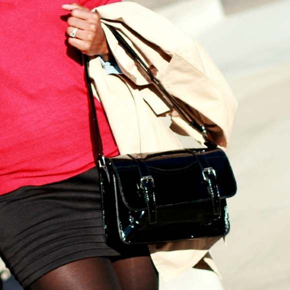 The Serena Saga red sweater black tights black skirt black booties trench buckle satchel square