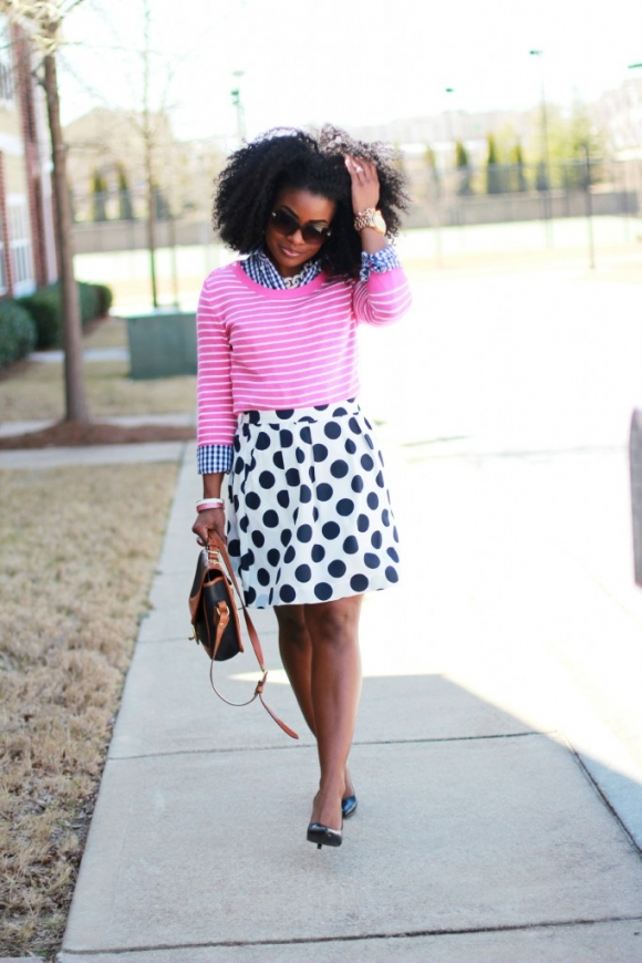 The Serena Saga polka dot stripes and ginghmam outfit 5