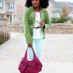 Outfit: Green Blazer, Mint Jeans, and Fuchsia