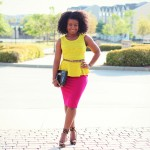 Outfit: Neon Peplum and Fuchsia