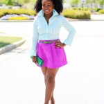 Outfit: Green Stripes and Fuchsia