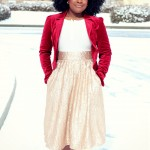 Outfit: Red Velvet and Gold Sequins