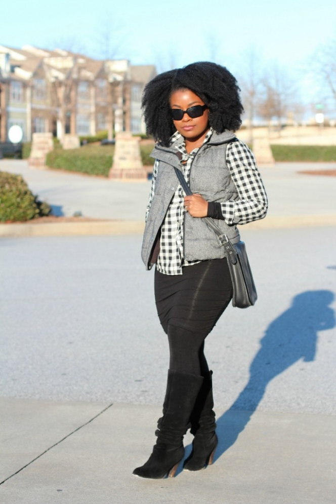 Tweed Puffer Vest Gingham Shirt Outfit The Serena Saga 4