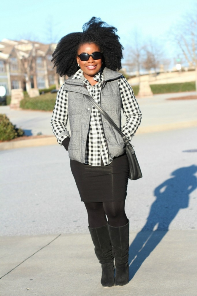 Tweed Puffer Vest Gingham Shirt Outfit The Serena Saga 5
