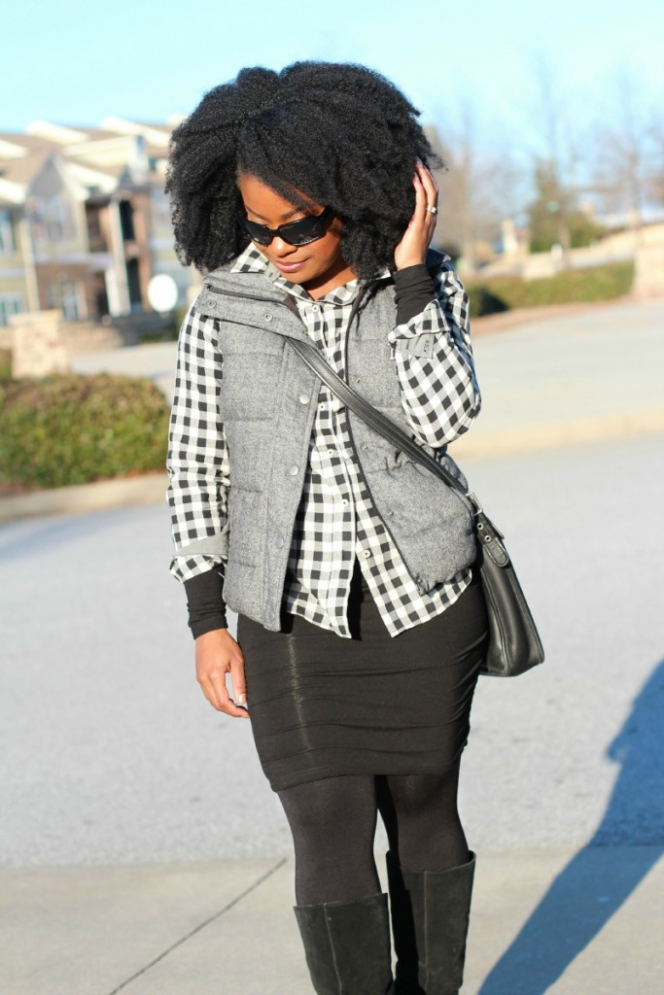 Tweed Puffer Vest Gingham Shirt Outfit The Serena Saga 6