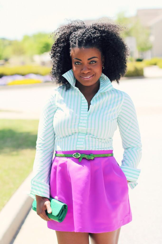 46488fdf31 Outfit  Green Stripes and Fuchsia ~ The Serena Saga