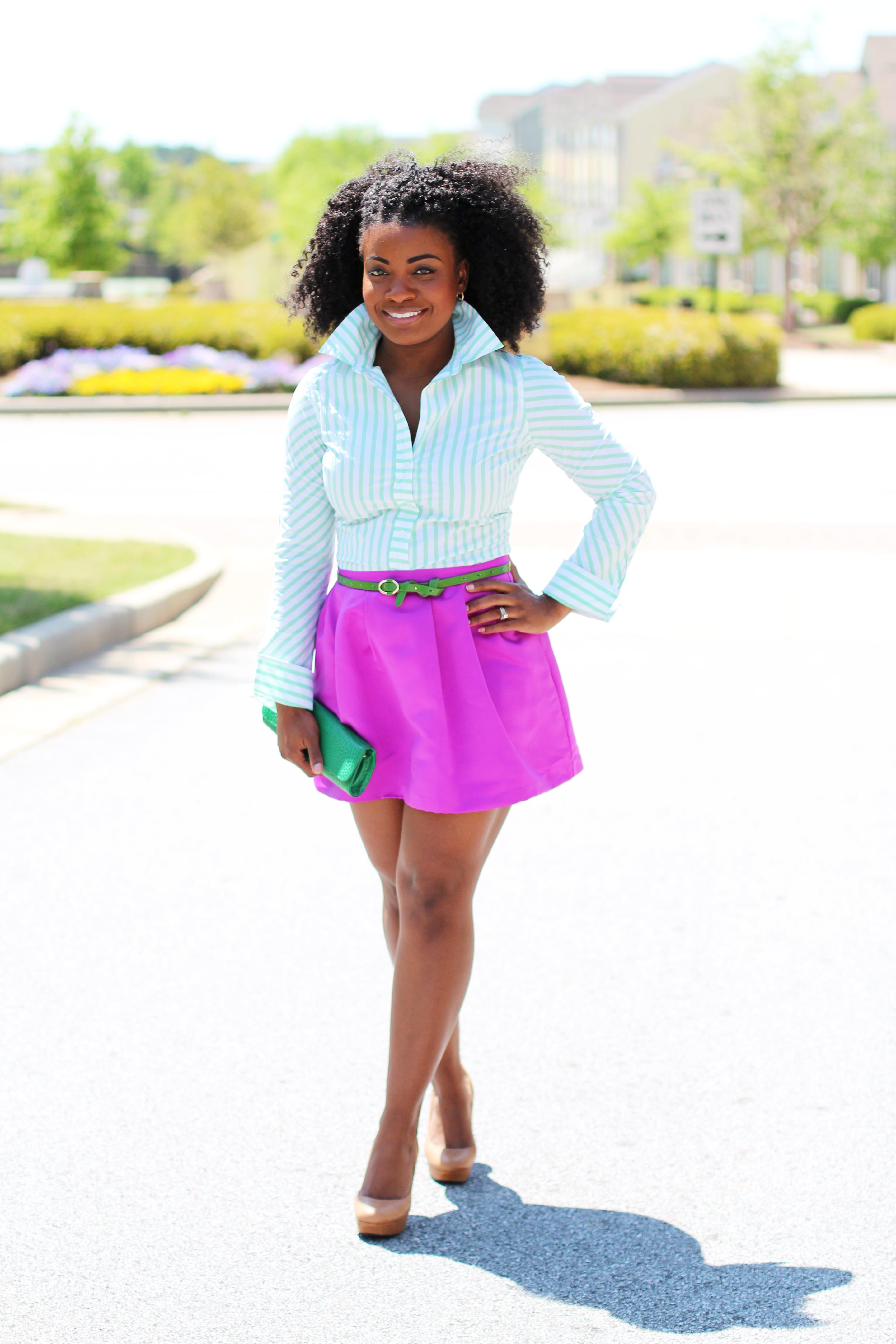 7ba869c8c4 Outfit: Green Stripes and Fuchsia ~ The Serena Saga